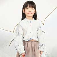 【秒杀价:167元】马拉丁童装女大童衬衫春装2020年新款洋气图案泡泡袖儿童衬衫