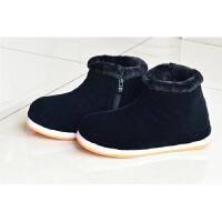 厚高帮女士保暖鞋传统手工千层底棉布鞋冬季男士手工棉鞋加绒加 黑色