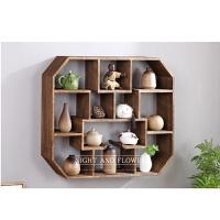 墙壁置物架中式 实木中式壁挂墙上茶壶展示架置物架客厅创意古董架 1米以下