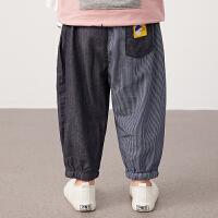 【秒杀价:122元】马拉丁童装男小童裤子2020夏装新款帅气宽松灯笼裤棉布长裤