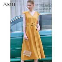 【到手价:190元】Amii极简法式女神范智熏连衣裙2019夏季新款V领收腰赫本风礼裙子