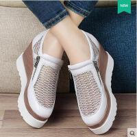 百年纪念 真皮镂空透气防水台坡跟高跟鞋头层牛皮厚底女单鞋1154