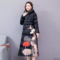 棉袄女中长款2018冬季新款中国风羽绒超长过膝复古民族风棉衣