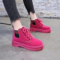 2018新款女鞋高帮棉鞋冬季加绒休闲鞋英伦马丁靴百搭韩版短筒靴子 红色 FM-112-1K