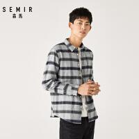 森马2019冬季新款韩版长袖衬衫男士休闲格纹帅气衬衣学生潮流上衣