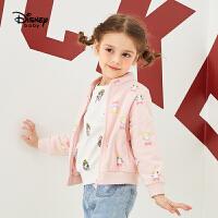 【2件4折价:66】迪士尼童装女童摇粒绒外套春装薄绒上衣立领拉链开衫可爱休闲卫衣