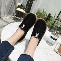 跨镜2019春季新款单鞋女大码平底套脚女鞋圆头舒适LOVE懒人鞋