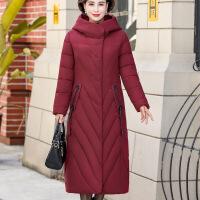 羽绒服中老年服女中长款新款中年妈妈冬装连帽外套
