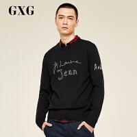 GXG男装 春季男士时尚潮流黑色圆领线衫针织衫#173820629