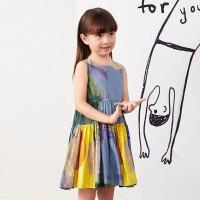 【秒杀价:270元】马拉丁童装女童连衣裙2020夏装新款艺术印花抽褶拼接背心裙