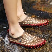 夏季洞洞鞋男士韩版果冻凉拖鞋防滑外穿休闲沙滩鞋凉鞋涉水溯溪鞋