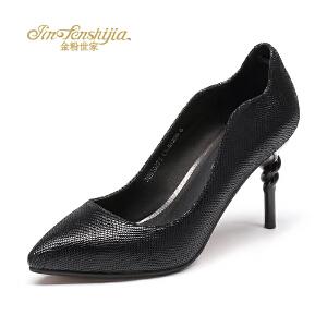 红蜻蜓旗下品牌金粉世家女鞋秋冬皮鞋鞋子女高跟鞋JGB10291