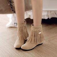 时尚短筒流苏靴中跟圆头短靴子秋冬新款甜美波西米亚内增高女鞋子 杏色 加毛内里