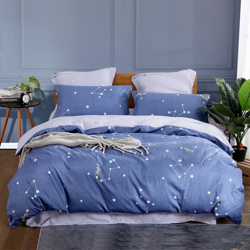 水星出品 百丽丝家纺 全棉印花三/四件套床上用品学生床单被套 春叶诗韵