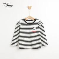 【2件3折价:41.7】迪士尼儿童打底衫男童装2020新款春纯棉内搭宝宝长袖t恤米奇条纹