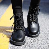 冬季情侣马丁靴一男一女休闲皮靴男士黑色短靴大码加绒男