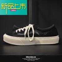 新品上市M 复古反牛皮板鞋内增高弹力鞋垫休闲真皮拼接系带舒适潮鞋 黑色 按下单顺序发货