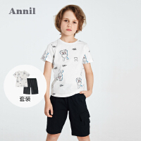 【2件4折价:107.6】安奈儿男童薄款套装夏季T恤短裤两件装2021新款洋气印花男孩童装