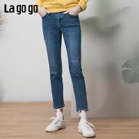 【清仓5折价161】Lagogo/拉谷谷2019春季新款字母刺绣抓纹直筒牛仔裤女IANN511C65