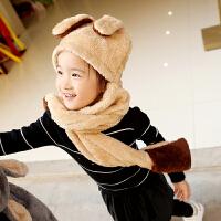 秋冬季儿童帽子围巾手套三件一体装加厚保暖男孩女孩宝宝围脖帽子