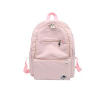 学院风纯色书包女简约大容量双肩包高中学生韩国闺蜜背包
