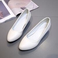 职业正装上班工作鞋黑色女小皮鞋高跟鞋低跟浅口单鞋粗跟圆头3cm
