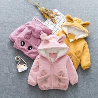 男女宝宝冬装 1-3岁潮加绒婴儿衣服外套 加厚大眼睛棉袄童装