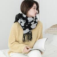 围巾女冬季韩版仿羊绒围脖长款加厚奶牛斑点学生百搭小清新围脖