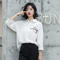 【1件3折 到手价:89元】高梵春装白色中袖衬衫女韩版新款宽松衬衣学生设计感小众上衣洋气