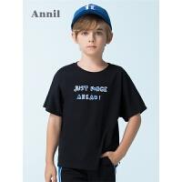 【3件3折价:50.7】安奈儿童装男童短袖t恤字母印花薄夏装新款中大儿童半袖衫潮