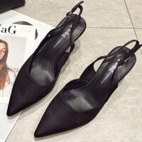 凉鞋女高跟鞋夏季2019新款韩版百搭黑色性感后空尖头细跟单鞋5cm