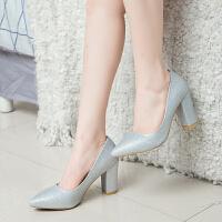 婚鞋女粗跟新娘鞋银色尖头高跟水晶鞋中跟伴娘鞋金色婚纱礼服鞋