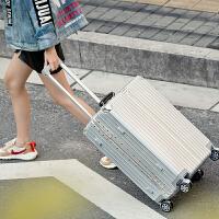 铝框旅行箱男女学生密码拉杆箱万向轮寸登机箱子行李箱22寸皮箱 银色 复古款-铝框款