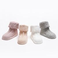 春秋韩国新款婴儿袜子无骨精梳棉双针花边松口宝宝袜 儿童纯色