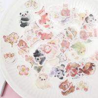 樱花烫金和纸贴纸包手绘可爱动物diy手账贴纸