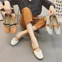 一字扣奶奶鞋粗跟夏季新款单鞋女韩版复古中跟潮女鞋