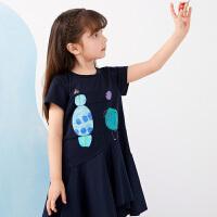 【秒杀价:140元】马拉丁童装女童连衣裙2020夏装新款图案分割线设计荷叶边连衣裙