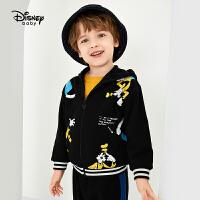 超品返场【3折预估价:57.4元】迪士尼宝宝男童针织加绒保暖外套儿童春装连帽