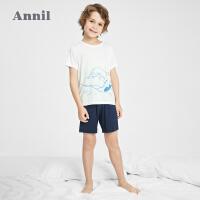 【2件4折价:107.6】安奈儿童装男童家居服套装凉感2021新款洋气夏季薄款中大童睡衣