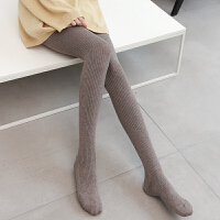 羊毛针织连脚袜女显瘦竖条纹薄绒打底裤袜秋冬加厚加绒羊绒连裤袜