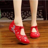 2018新款老北京布鞋花蕾刺绣绣花鞋低跟搭扣休闲单鞋女汉服配鞋子 红色 34
