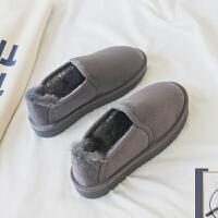 一脚蹬雪地靴女短筒韩版学生百搭冬季加绒保暖棉鞋2018新款面包 灰色 偏大半码