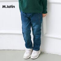 【2件88/3件8折后到手价:143.2元】马拉丁童装男童牛仔长裤冬新品加厚保暖拼接牛仔裤