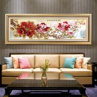沙发背景墙装饰画客厅壁画现代大气挂画简约国画中式花开富贵牡丹 (2) 240*80(建议3~5米宽墙面) 金纹框 单幅