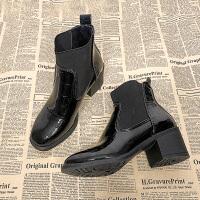 网红短靴女春秋2018新款学生短筒粗跟切尔西靴英伦风高跟马丁靴潮 黑色