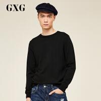 【GXG过年不打烊】GXG男装 秋季时尚简约圆领舒适休闲黑色毛衫#174820806