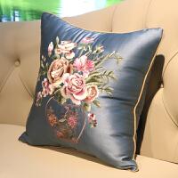 中式靠枕中国风红木沙发抱枕套不含芯正方形欧式靠垫客厅 深蓝色 花团锦簇