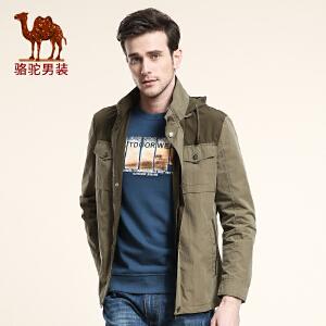 骆驼CAMEL 男装 新款男士夹克 翻领直筒夹克 男士休闲夹克