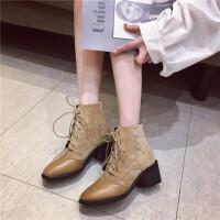 2018秋款时尚百搭短筒靴粗跟时尚马丁靴女短靴复古瘦瘦靴短筒短靴
