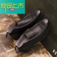 新品上市冬季男短靴加绒真皮马丁靴男低帮复古靴男雕花英伦皮鞋靴子